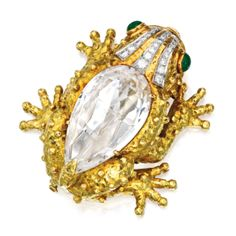 18 Karat Gold, Platinum, Rock Crystal Quartz, Diamond and Emerald Clip-Brooch, David Webb