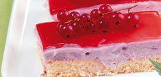 Ribisel-Joghurt-Schnitten - QimiQ Panna Cotta, Raspberry, Cheesecake, Sweets, Cup Cakes, Fruit, Tiramisu, Ethnic Recipes, Desserts