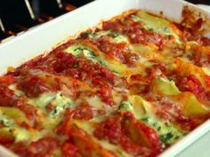 Spinach and Ricotta Stuffed Shells recipe from Jamie Deen via Food Network