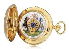 Le Coultre  A YELLOW GOLD HUNTING CASED KEYLESS LEVER MINUTE REPEATING CHRONOGRAPH WATCH WITH AUTOMATON NO 2283 3 CIRCA 1900;  sold 31,415 USD ;  NOV. 12, 2017.   ||| sotheby's ge1704lot9lzqpen