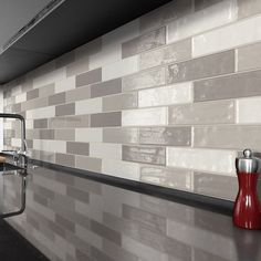 Concerto Glazed Porcelain Tile | Arizona Tile Modern Kitchen Backsplash, Kitchen Wall Tiles, Backsplash Tile, Backsplash Ideas, White Glossy Kitchen, Kitchen Color Palettes, Tile Showroom, Porcelain Tile, Kitchen Hacks