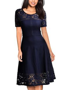 LaceShe Women Floral Lace Cocktail Swing Dress