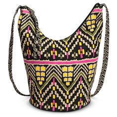 Women's Global Print Slouchy Crossbody Handbag - Black