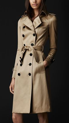Long Cotton Sateen Trench Coat Burberry.....NOW that's one SEXY coat!