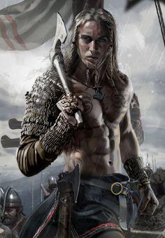 m Barbarian Medium Armor Dual Axe male Battle eastern border Royal Army story lg Fantasy Warrior, Fantasy Art Men, Fantasy Artwork, Fantasy Drawings, Viking Warrior, Art Viking, Viking Life, Viking Woman, Fantasy Character Design