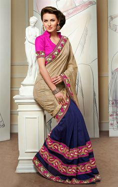 Picture of Wonderful Cream and Blue Designer Party Wear Saree Online