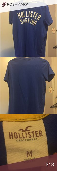 Men's Blue Hollister T-shirt Blue men's medium Hollister t-shirt. Only wore about 5 times, has Hollister in white on the front of the shirt as seen in the first photo. It's in good condition but it doesn't fit me anymore, I'm willing to negotiate. Hollister Shirts Tees - Short Sleeve
