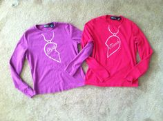 Best Friends Shirt set trompe l'oeil necklaces hand stenciled pink and purple size S BFF. $24.00, via Etsy.