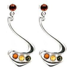 Sterling Silver Multicolor Amber Tri-color Earrings