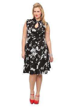 Retro Chic By Torrid - Black Floral Mandarin Dress
