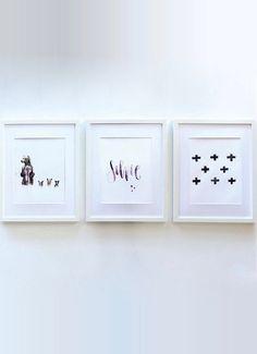 Black Crosses Black and White Print Minimalist Art by GinnyandI