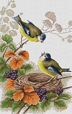 Birds in Nest Cross Stitch Kit By Luca S