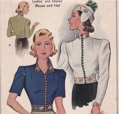 McCall 535 from 1937 Blouse and Hat printed sewing pattern size 14