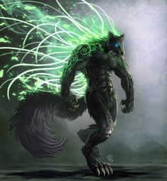 The ancient werewolf by RiptorStormwolf - A Black Werewolf, who appears to have Maleficent Wings! I love the way that the Arcs of Green Power, contrast with the Blacks of his Fur. With a further twist, coming from the spirals of this Werewolves Tail :) Monster Art, Fantasy Monster, Dark Fantasy Art, Fantasy Artwork, Fantasy Character Design, Character Art, Fantasy Creatures, Mythical Creatures, Wolf Warriors