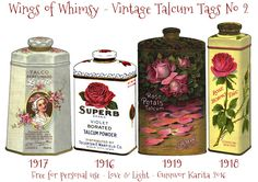 Here is the second set ofVintage Talcum Bottles: I have envisioned the Talcum Bottles used as tags, but I'm sure you crafty peeps can findmany other uses for them too :-) INSTRUCTIONS FOR …