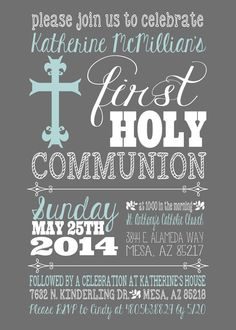 First Holy Communion Invitation 1st Communion by CLaceyDesign
