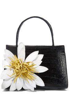 Nancy Gonzalez - Floral-appliqued glossed-crocodile tote. White Tote BagWhite  HandbagBlack ToteTote PurseTote ... 22691e8fd343