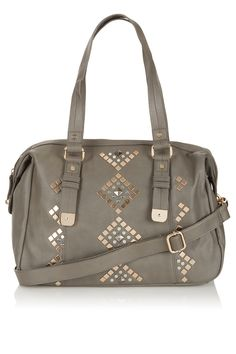 TopShop Geo Studded Holdall Item# 24H03DGRY $80