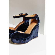 Pamela Velvet Wedge ($79) ❤ liked on Polyvore featuring shoes, blue, ankle tie wedge shoes, blue platform shoes, wedge heel shoes, ankle strap wedge shoes and blue velvet shoes