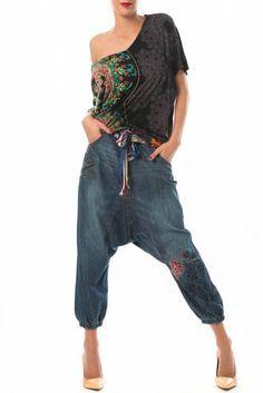 sarouel en jeans mary desigual bleu - pret a porter pantalon femme