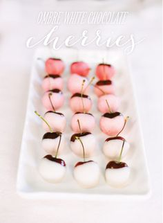 Ombre White Chocolate Dipped Cherries. Um, yes please.    Photo by Heidi at http://www.whiteloftstudio.com/