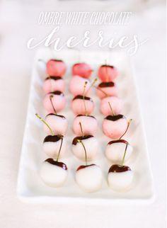 Ombre White Chocolate Dipped Cherries. Um, yes please.    Photo by Heidi at http://www.whiteloftstudio.com/