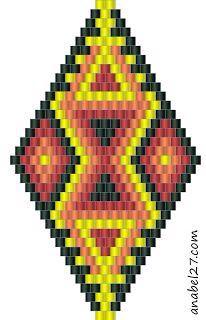 Schemes of earrings, diamond shapes - tiling / brick weave / Peyote earrings patterns Peyote Beading Patterns, Beaded Earrings Patterns, Seed Bead Patterns, Loom Beading, Beaded Earrings Native, Triangle Earrings, Native American Patterns, Native American Beadwork, Seed Bead Tutorials