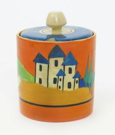 Applique Lucerne' a Clarice Cliff Bizarre Cylindrical preserve pot and cover