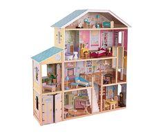 Casa per bambole con 34 mobiletti Majes - 132x136x36 cm