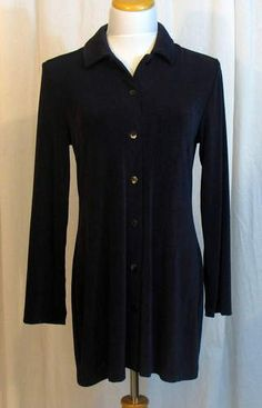 Chicos Travelers Blue Jacket Gala Cross Dye Tunic Stretch Size 1 Standard 8 | eBay