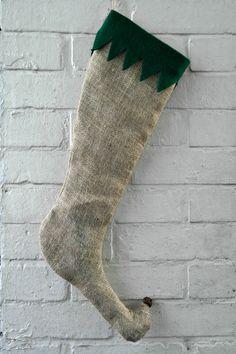 Burlap Elf Stocking Primitive Christmas Hessian by HomeDecorLab