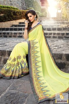 Brighten up your already bright look beautiful yellow color party wear saree online shopping collection with best discount price offer and sale. This saree decked with embroidery and jari work. #saree, #designersaree more: http://www.pavitraa.in/store/designer-collection/
