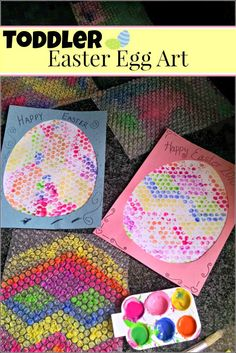 Bright and fun Toddler Easter egg art project. A fun kids' arts and crafts project for the holiday!
