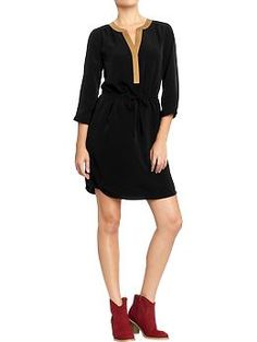 Women's Tipped-Collar Crepe Dresses (bought this today, so comfortable and flattering)