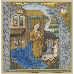 A miniature within an initial 'H' from a German illuminated manuscript, c.1470; the Nativity is depicted, with the Virgin Mary (with halo and blue-robe attributes) kneeling before the Christ Child and the star of Bethlehem overhead; angels are present, as are an ox and ass (Isaiah 1:3: 'The ox knoweth his owner, and the ass his master's crib'). Victoria & Albert Museum