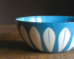 Vintage Cathrineholm Bowl .. Lotus Pattern in Blue