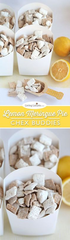 Lemon Meringue Pie Chex Party Mix Recipe. The best no bake Chex Buddies ever! Easy gift idea or party snack. LivingLocurto.com