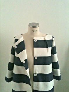 Bicycle Coat in Navy & White Stripes by Suite on Etsy, $280.00 // Mod Fashion // Style