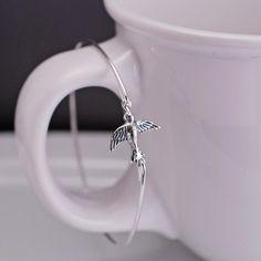 Sterling Silver Bird Bangle Bracelet - Flying Bird Jewelry by georgiedesigns