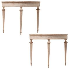 Ordinaire Italian Neoclassic Pair Of Demilune Console Tables