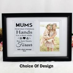 One of our favourite product lines. One half of this unique frame has a your choice of a themed typography quote and the other side of the frame can hold your favourite Photo Short Messages, Unique Birthday Gifts, Frame Display, Christening Gifts, Typography Quotes, Newborn Gifts, Mother Gifts, Wedding Gifts, Personalized Gifts
