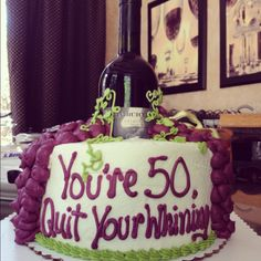 Wine themed birthday cake with a bottle of the recipients favorite wine in the middle! Birthday Cake Wine, 50th Birthday Cake For Women, Moms 50th Birthday, Themed Birthday Cakes, Birthday Cupcakes, Country Birthday, Birthday Stuff, Wine Tasting Party, Wine Parties