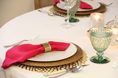 Pink & Green, Chilewich Placemats and Napkins, Villeroy & Boch Boston Goblets, CB2 Votives - Redefining Domestics