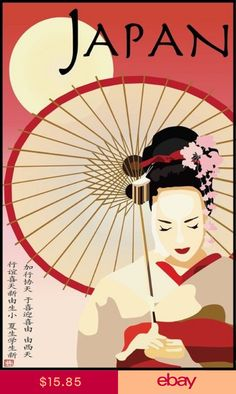 Lady Umbrella Japan Travel Tourism vintage poster Source by Poster Retro, Poster Vintage, Vintage Travel Posters, Japan Design, Poster Sport, Poster Festival, Japanese Art Modern, Ladies Umbrella, Japanese Poster Design