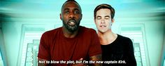 New trendy GIF/ Giphy. chris pine idris elba captain kirk star trek cast im the new captain kirk. Let like/ repin/ follow @cutephonecases