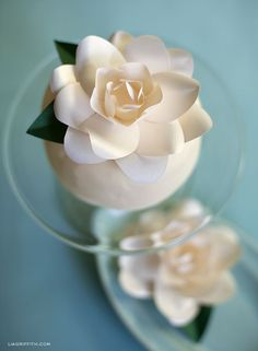 DIY Paper Gardenia - I can't believe this is paper! Beautiful step by step instructions.