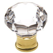 View the Baldwin 4323 1-1/5 Inch Diameter Crystal and Brass Mushroom Knob from the Crystal Collection at PullsDirect.com.