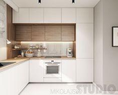 Płytki heksagonalne w kuchni z drewnianymi szafkami