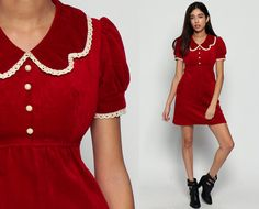 bc454b1a040 Velvet Mini Dress 60s PETER PAN Collar Mod Red Babydoll Lace PUFF Sleeve  1960s Boho Vintage Empire Button Up Dolly Lolita Small