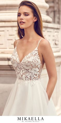 View Romantic Lace Bodice Wedding Dress - Style from Mikaella Bridal. Lace bodice with V-neckline and straps. Full Organza skirt with pockets. Dresses Elegant, Pretty Wedding Dresses, Amazing Wedding Dress, Wedding Dress Styles, Lace Dresses, Sexy Dresses, Bridal Dresses, Wedding Gowns, Tulle Wedding